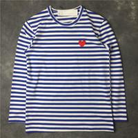 Herren T Shirts Japanische Mode Liebe Stickerei Langarm High Street Streifen Langarm Lose Frauen T Shirts Freizeit Kleidung