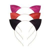 Kedi Kulaklar Kafa Bebek Glitter Kedi kulakları saç bantlarında Saç Metal Kafa Hoop Klipsler Tatil Parti Düğün Dekorasyon Dikmeler GGA3346 Sticks