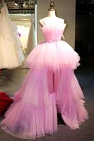 Roze tule a line lange prom jurken 2020 strapless tutu gelaagde ruches hoge lage sweep trein avondjurken vestidos de festa bc2894