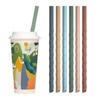 22cm Spiral Silikon Strohhalme Bunte Für Cups Food Grade Silikon Gerade Gewundene Strohe für bardekor Milchtee Startseite Trinkhalm FFA4170