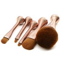 المهنية الخصر الصغيرة ماكياج فرش مجموعة 5 قطع Gemtotal مؤسسة الشفاه ظلال العيون استحى مسحوق الشعر الاصطناعية (الذهب) مع فرشاة دلو