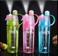 600ML رذاذ الرياضات المائية زجاجة المحمولة الرياضة في الهواء الطلق المياه أباريق مكافحة التسرب شرب كأس مع ضباب التخييم زجاجة من البلاستيك FY4135