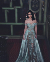 2020 neue plus größe zuehair murad kleider weg schulter bodenlangen kleid spitze appliquique hülle abendkleider mit perlen 3775