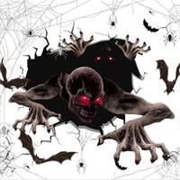 Gözlük Korku Çıkartması Sınıf Ev Dekorasyon Kanlı El izi Salon Pencere Scary Halloween şeytan Desen Duvar Etiketler