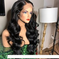 A Women &#039 ;S Fashion Black Long Deep Wave Hair Synthetic Glueless Lace Front Wigs For Women High Temperature Fiber Natural Hairline