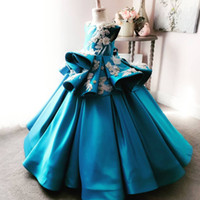 2018 perlas apliques flores hechas a mano vestidos de niña de flores de satén encantadora niña vestidos de novia vestidos del desfile de la vendimia vestidos f054