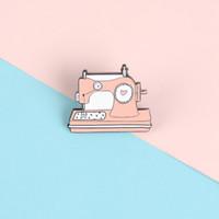 Naaimachine emaille pinnen weven liefde hart broches badges tas kleding revers pins paar sieraden geschenken voor vrienden