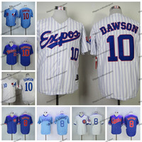 Vintage 1982 Montreal Expos Andre Dawson Baseball-Trikots billig weiß blau # 10 Andre Dawson Herren genäht Hemden M-XXXL