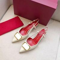뜨거운 판매 - 디자이너 뾰족한 문자 하이힐 특허 가죽 샌들 여성 신발 높은 뒤꿈치 신발 뾰족한 발가락 버클 드레스 신발 35-41 펌프
