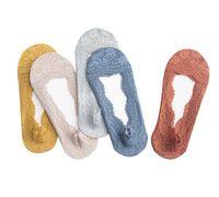 Été femme fille gelée de silice bateau chaussettes chaussettes de coton invisible semelle antidérapante antidérapante chaussette antidérapante