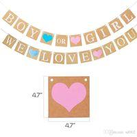 El género revela la decoración del partido de 12 pulgadas de género Látex Globos de Oro Rosa Azul borlas niño o niña We Love You Banner 26pcs / Set 32ymE1