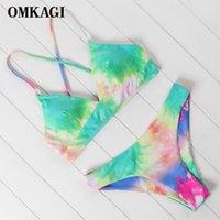 Bikinis Set Omkagi Maillots de bain Femmes Sexy Push Up Tie-Teinture Micro Bikini Maillot de bain Beachwear 2021 Mujer Starefish Maillot de bain