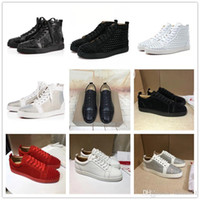 Low New Brand Spikes High Cut Suede 2019 Red Bottom Designer Luxury Shoes Studded Flats Shoes For Men Zapatos de cuero con diseño de fiesta para mujer