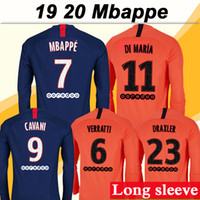 19 20 MBAPPE Long Sleeve Soccer Jerseys DI MARIA CAVANI Home...