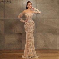 Шампанское с плеча Роскошные Бисероплетение вечерние платья 2020 Sexy Глубокий V шеи длинным рукавом Русалка Вечерние платья vestidos де Noche