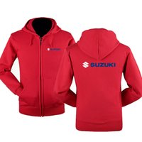 Осень зима Suzuki логотип молния кофты печатные мужчины fleecel куртка с капюшоном толстовки молния толстовка