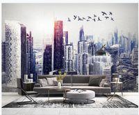 peintures murales 3d papier peint main minimaliste moderne dessiné papier peint bâtiment walpaper ville le lever du soleil volant mur de fond tv oiseau