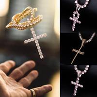 18K Gold überzogenes CZ Zircon Kreuz Schlüsselanhänger Tennis-Ketten-Halskette für Männer Frauen voller Diamanten Hiphop Rapper Schmuck Paar Geschenke en gros