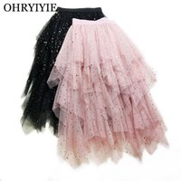 OHRYIYIE Stars Sequined Tulle Tiered Skirts Women 2019 Sprin...
