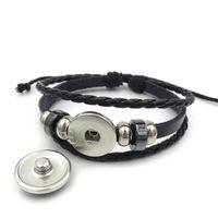 Bouton Multilayer Bracelet en cuir 18MM fleur crâne corde tressée Cabochon en verre Ginger Charm Wrap pression Bracelet Bijoux Vintage