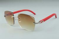 2019 mais novo Hot venda requintado estilo 3524018-6 micro lentes de corte óculos de sol, templos de madeira vermelhos vidros naturais, tamanho: 18-135mm