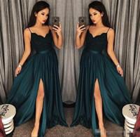 Elegant A-Line Blackish Grüne Ballkleider 2019 Ausschnitt-Seiten-Schlitz-Abend-Kleid-Spitze-Ober Sexy Arabisch Sweep Zug formales Partei-Kleid