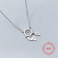 925 Sterling Silver Dreamcatcher Feather Charm Necklace Pend...