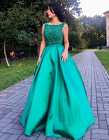 Light Green Prom Dresses Long 2020 Scoop Backless Major Bead...