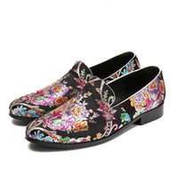 Chaussure Homme Men Embroidery Flower Dress Shoes Slip- on Lo...