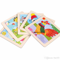 Wooden Puzzles Toys 9PCS Cartoon DIY Buliding Animals Thicke...