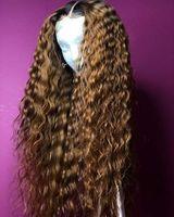Ombre cor onda de água bob peruca bouncy encaracolado lace dianteira perucas de cabelo humano com cabelo bebê arrancado remy perucas brasileiras de renda cheia