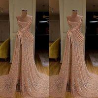 2020 New Long Gold Dresses Dresses High Split Ruched Pageant Dress Dress Formal Party Abiti da ballo Robe de Soiree Abendkleider BC3680