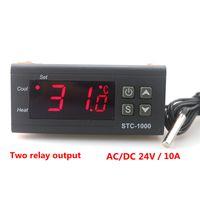 Цифровой контроллер температуры термостат терморегулятор для инкубатора два релейных выходных светодиода 10A нагрев и охлаждение STC-1000 24V