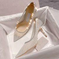 Metallic Silver Glitter Tissu Pompes avec des chaussures de mariage de mariée Overlay Tulle Ivoire Heels Designer eu 34 à 41 tradingbear