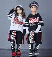 4 peças Nova Moda Imprimir Meninos Boys Girls Girl Conjunto de Algodão T-shirt Hip Hop Dance Calças Esportivas Suits Kids Roupas