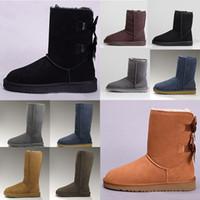 Diseñador Mujeres UG Australia Botas australianas Invierno Snow Furry Satin Boot Boot Botines Piel Cuero al aire libre Bowtie Shoes