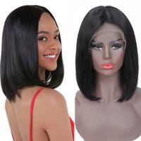 13x4 bob peluca peruana recta corta corta frente cabello humano pelucas humanas sin procesar peruano recto bob pelucas 8-16 pulgadas