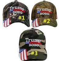 Drapeau Trump chapeaux Etats-Unis Etoiles Camouflage Casquette de baseball Lettre broderie Camo Snapback Keep America Great 2020 Sunhat MMA2503