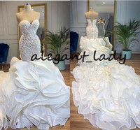 Cascading Ruffles Cathedral Train Mermaid Wedding Dresses 20...