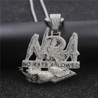 Хип-хоп письмо ожерелье нет крыс разрешены кулон ледяной out out полный Zircon Mens Bling ювелирные изделия подарок