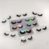 Nerz Wimpern Klarband Wimpern Handgemachte falsche Wimpern 5D Transparente Band Full Strip Wimpern mit Kunststoffkiste