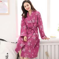 Mulheres Sleepwear Outono Roupas de Algodão Plus Size M-4XL Impressão Floral Bathrobes Morning Casa Casaco Médio Long Primavera Nightgown Spa Kimono