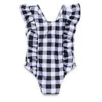Ins Mädchen Plaid einteilig Badebekleidung Säuglingsbaby Swimsuit Sommer Check Ruffle Sleeve Kinder Schwimmen Strampler Y1361