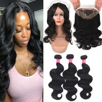 Remy Brazilian Virgin Human Hair 3 Bundles With 360 Full Lac...