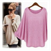 Wholesale-Kenancy 2019 New Women Casual Sweater Knitted Batwing Pullovers Ladies Loose Autumn Outwear Fashion Women'S Jumper Pull Femme
