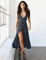 Vestito stampato a Polka Dot Vestito Casual Delle Donne Casual Abbigliamento Summer Designer Designer Designer Casual Abiti Casual Sexy Proof V Collo