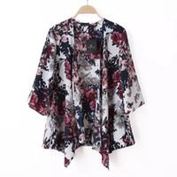 수요가 많은 패션 여성 블라우스 기하학 인쇄 여름 쉬폰 코트 목도리 기모노 카디건