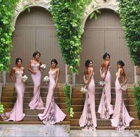 Pastel Rosa Sereia Country País Dama de Honra Vestidos Espaguete Correias Ilusão Lace Train Bohemian Doméstica Vestido de Honra Cheap Vestido Longo Promovido 2019