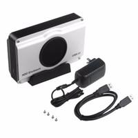 Бесплатная доставка 3.5 дюймов 393U3 алюминиевый корпус 5 Гбит SuperSpeed USB 3.0 для SATA HDD корпус Box дело внутренний вентилятор