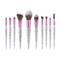 10 частей / набор блестящого кристалла макияж кисть кисти глаз тень маскирующих ресницы основы лицу с блестками блеска ручка makeupSZ88
